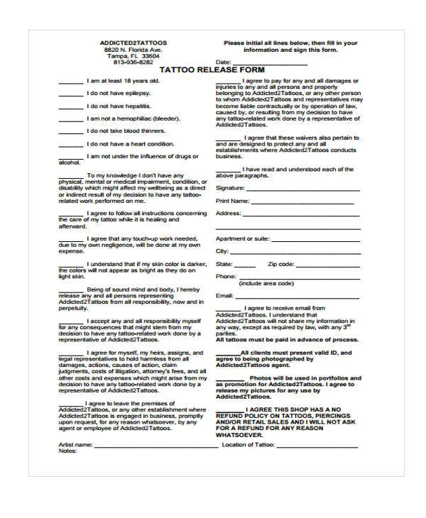 Tattoo release form seven reasons why people like tattoo for Tattoo release form template