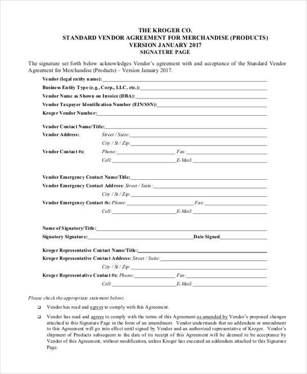 Vendor Agreement Vendor Agreement Form FoodVendorAgreement