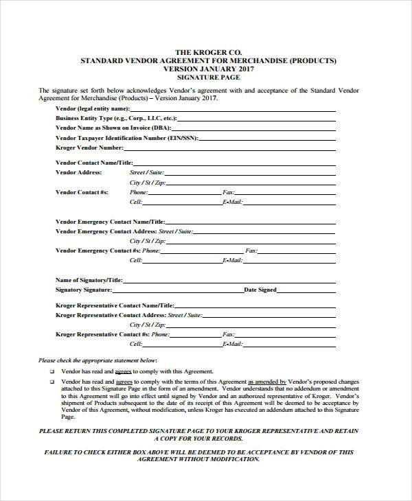 Vendor Agreement Form Samples  Free Sample Example Format
