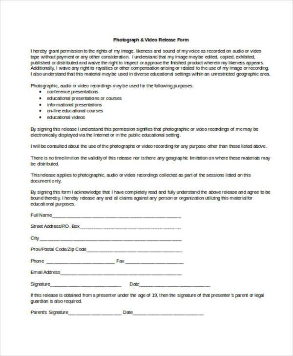 standard video release form sample