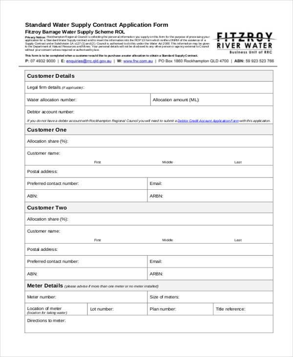standard water supply contract application form