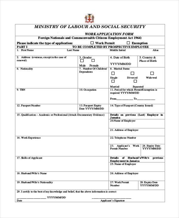 standard work application form