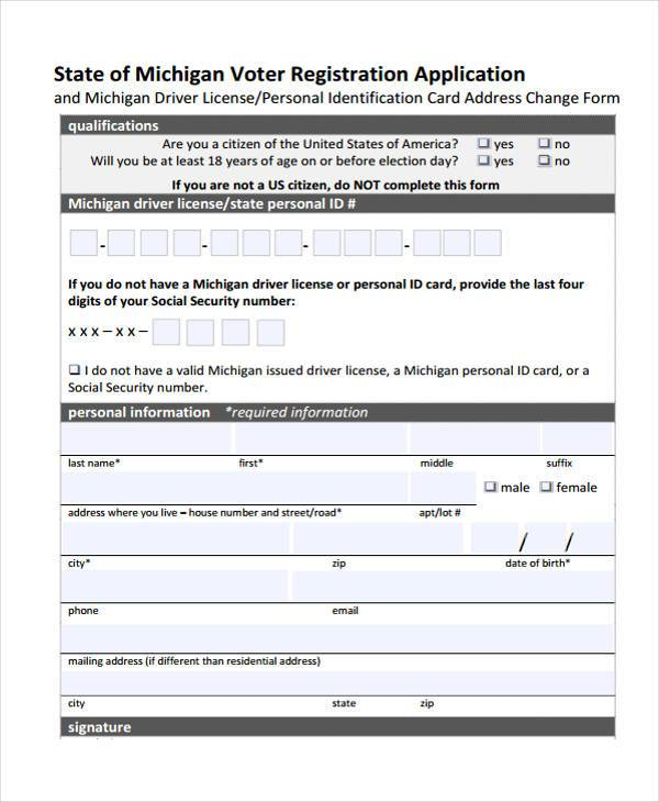 Voter Registration Form Samples  Free Sample Example Format