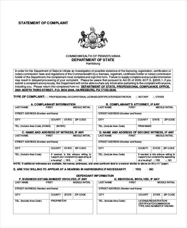 statement generic complaint form
