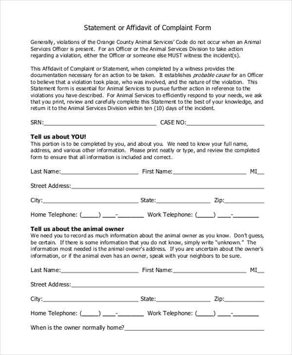 Sample Complaint Affidavit Forms 7 Free Documents in Word PDF – Affidavit Statement of Facts