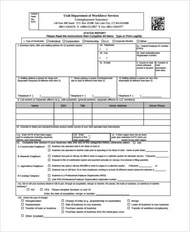 status report form example