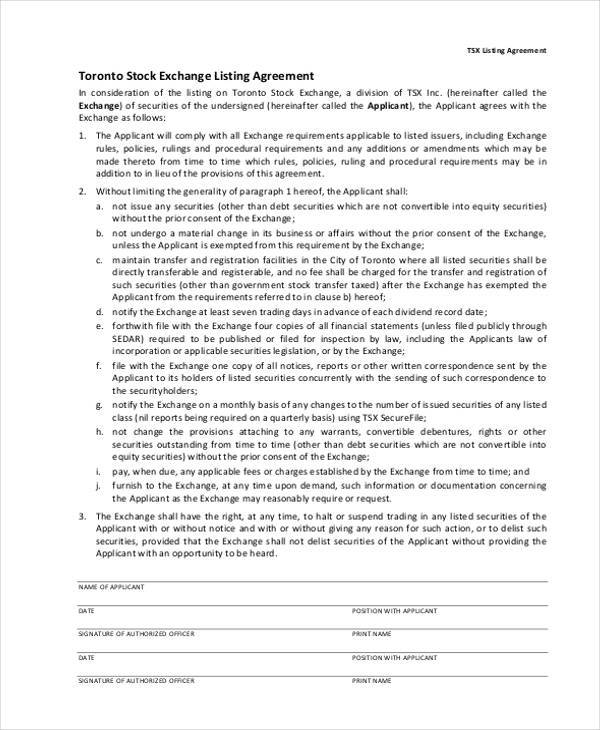 stock exchange agreement form