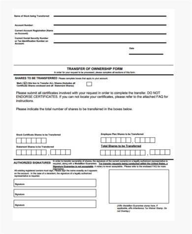 stock ownership transfer form