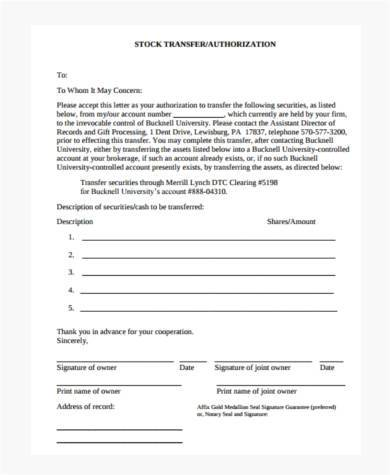 stock transfer authorization form