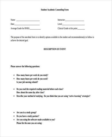 student academic counseling form