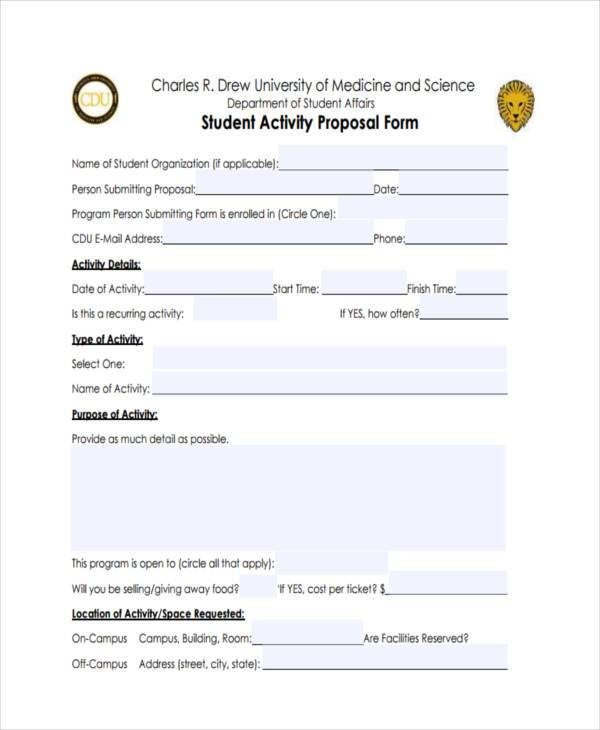 student activity proposal form