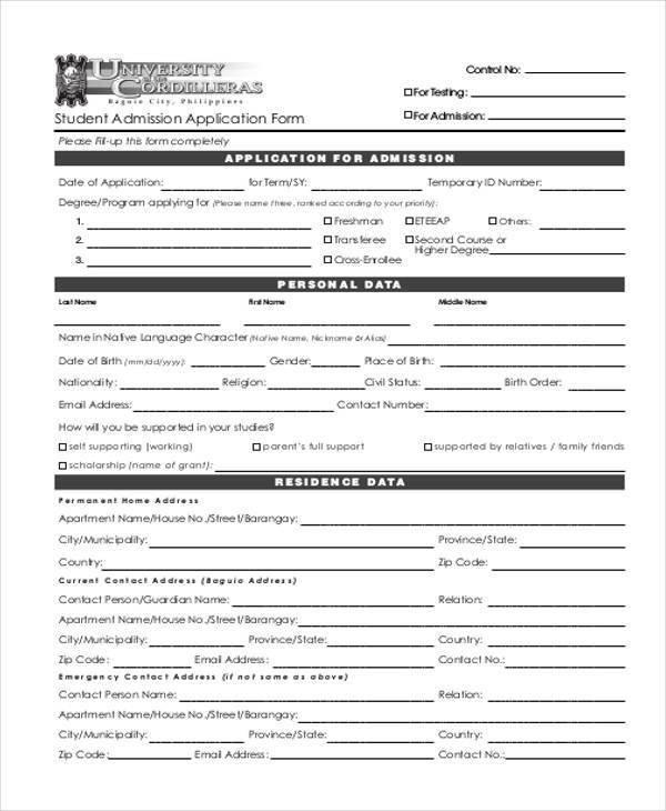 7 student application form samples free sample example format