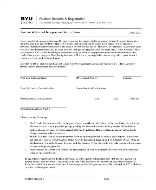 student affidavit of independent status form