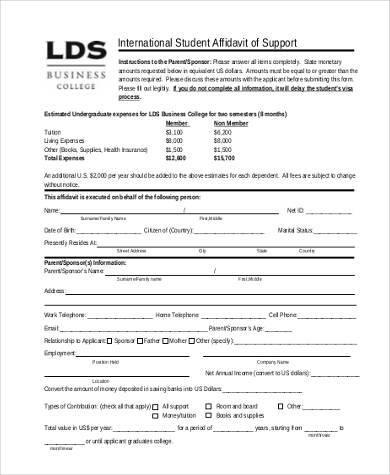 student affidavit of support form