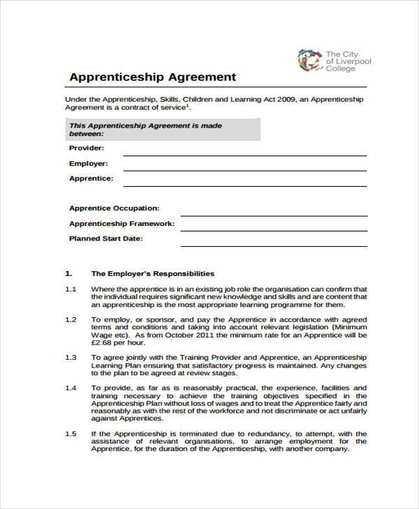 Apprenticeship Agreement Form Samples  Free Sample Example
