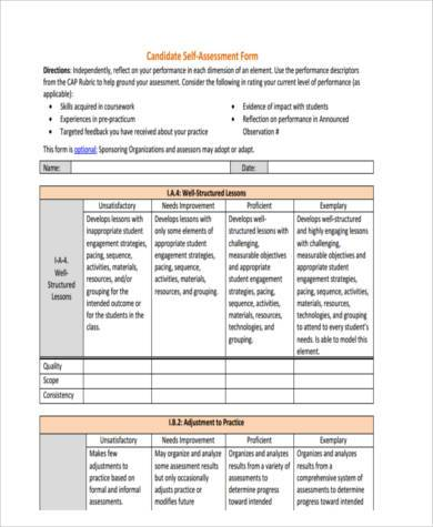 Sample Student SelfAssessment Forms   Free Documents In Word Pdf