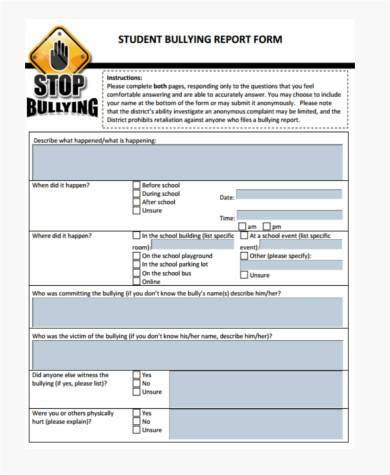 student bullying report form