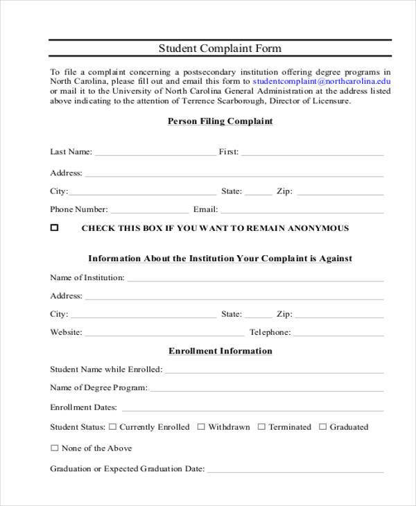 student complaint form example1