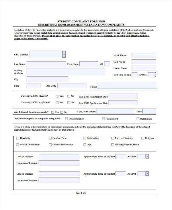 student complaint form for discrimination