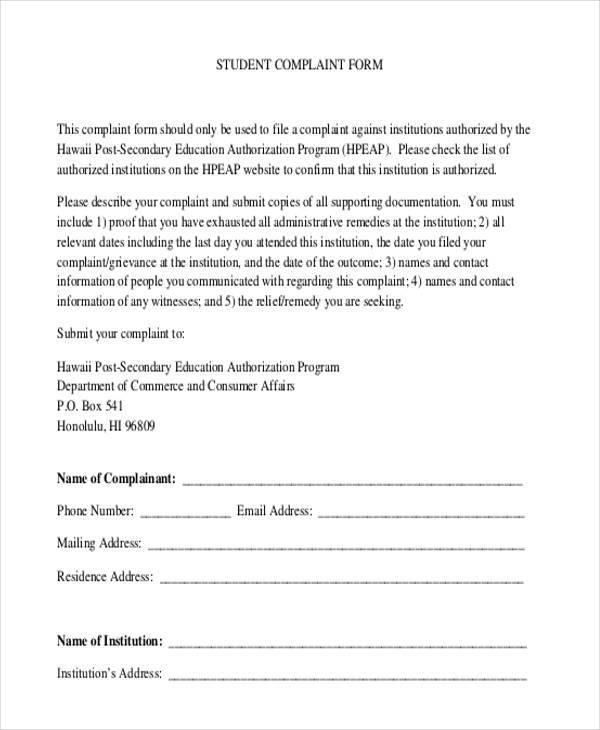 student complaint form sample