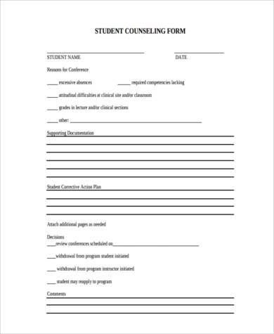 student counseling form example