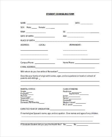 student counseling form in word format