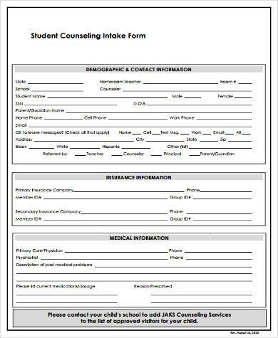 student intake form template - sample counseling intake forms 9 free documents in word