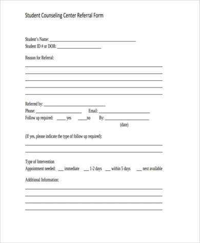 student counseling referral form