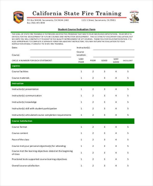 Evaluation Form Templates – Training Evaluation Forms Templates