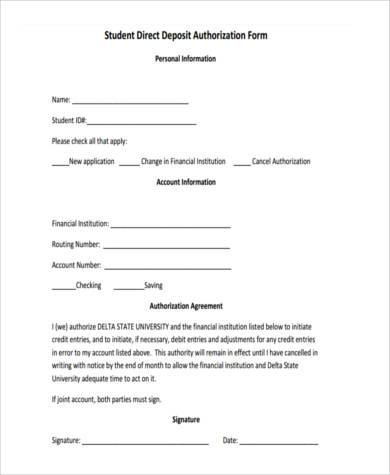 student direct deposit authorization form