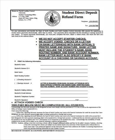 student direct deposit refund form