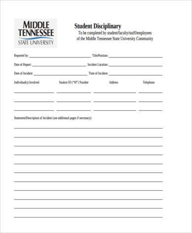 student discipline statement form example