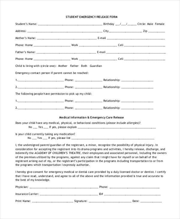 student emergency release form