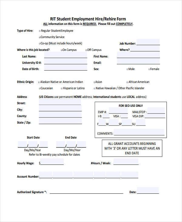 student employment hiring form