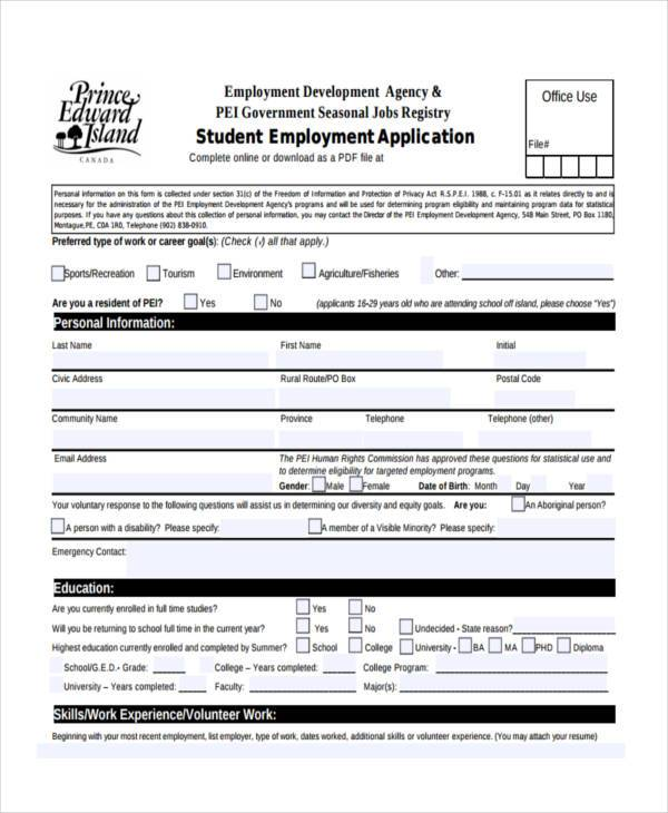 Student Employment Job Registration Form