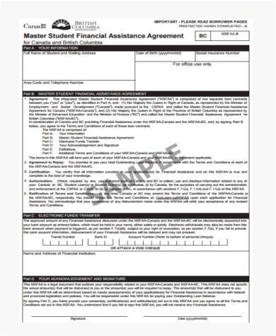 student financial assistance agreement form