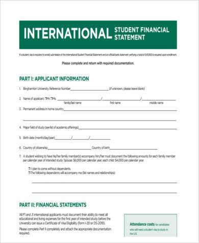 student financial statement form