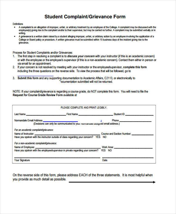 8 Grievance Complaint Form Samples Free Sample Example Format – Employee Complaint Form Example