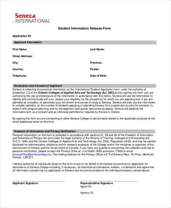student information release form