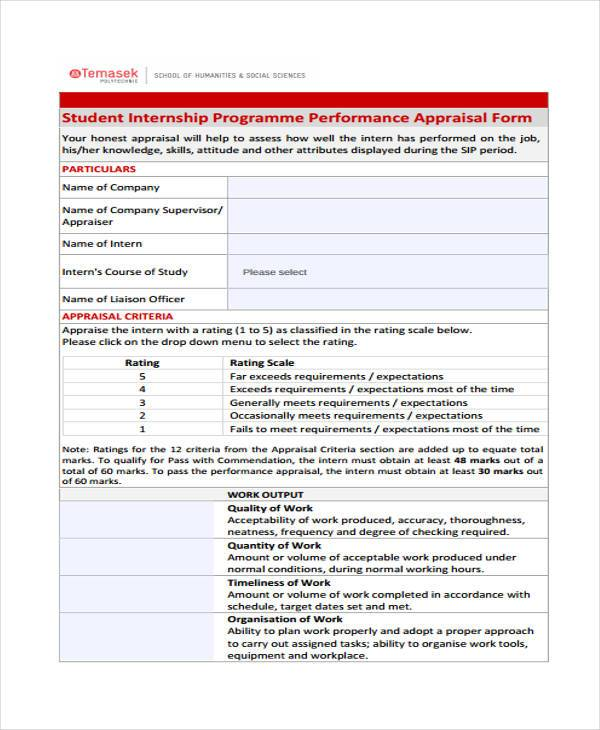 student internship performance appraisal form