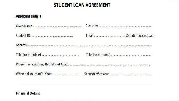 Free 7 Student Loan Agreement Form Samples In Sample