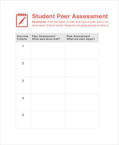 Sample Peer Assessment Forms 8 Free Documents In Word Pdf