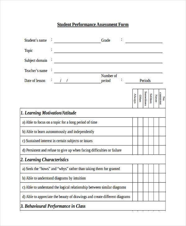 Student Assessment Form Samples  Free Sample Example Format