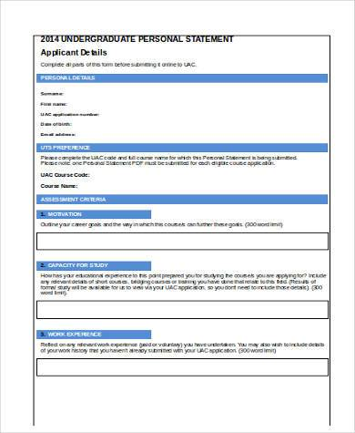 student personal statement form in word format