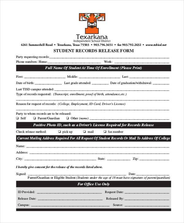 student records release form
