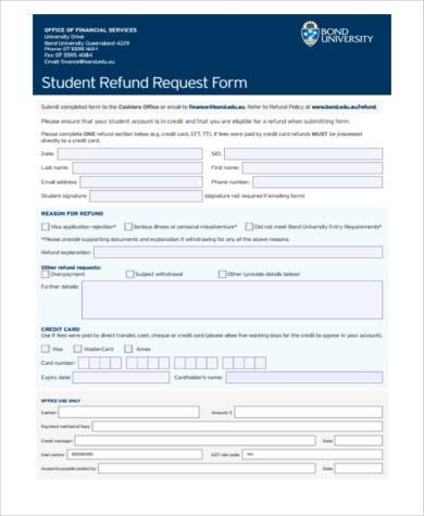 student refund request form