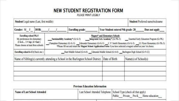 7  student registration form samples