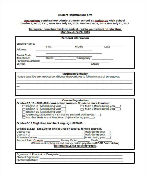 student registration form in doc