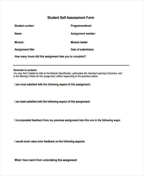 SelfAssessment Sample Forms   Free Documents In Word Pdf