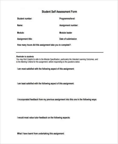 student self assessment form pdf